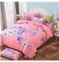 Brilliant Multi Floral Printed Pink 4-Piece Cotton Duvet Cover Sets