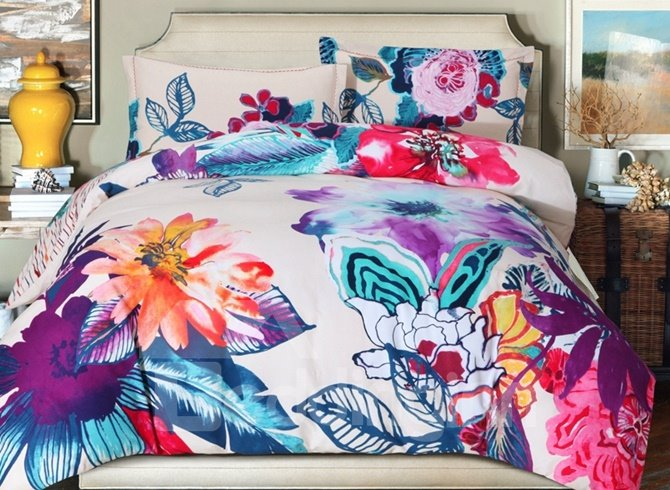Chic Bright Floral Print 4-Piece Cotton Duvet Cover Sets