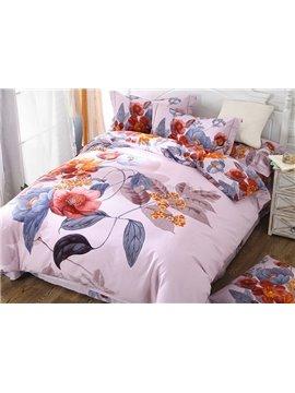 Unique Bright Floral Design 4-Piece Cotton Duvet Cover Sets