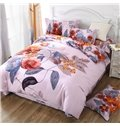 Unique Bright Floral Design 4-Piece Cotton Duvet Cover Sets