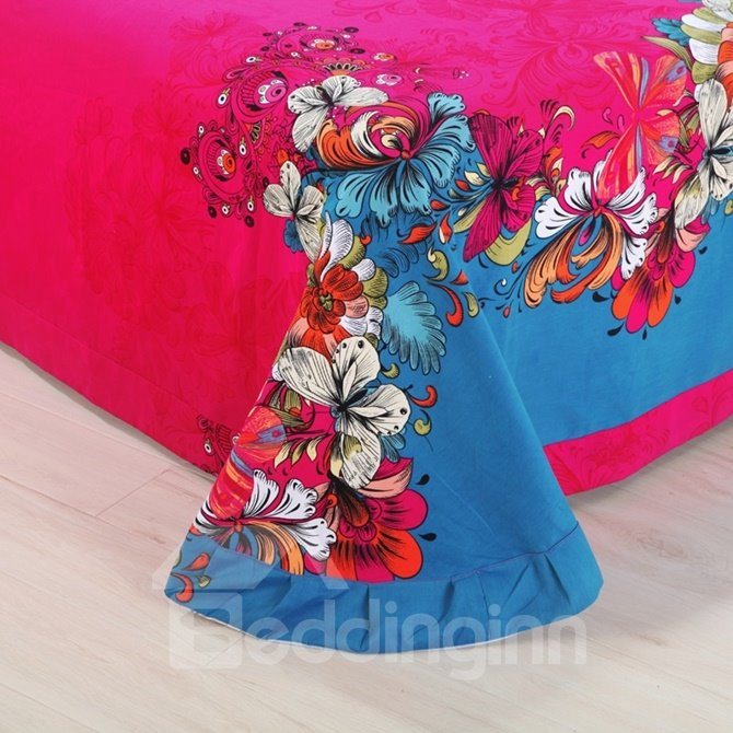Gorgeous Stunning Butterfly Print 4-Piece Cotton Duvet Cover Sets
