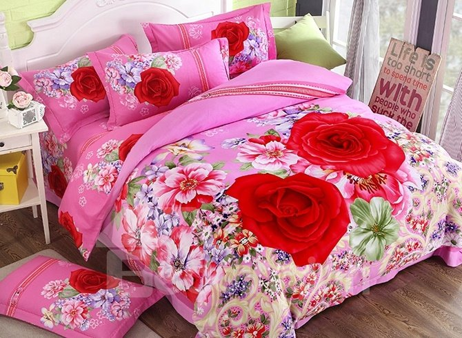 Inviting Red Rose Print 4-Piece Cotton Duvet Cover Sets 12445734