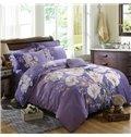 Likable Country Blooms Print Purple 4-Piece Cotton Duvet Cover Sets