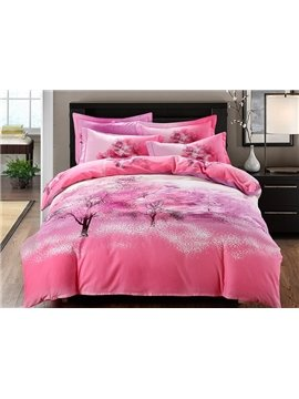 Vivid Tree Pink 4-Piece Cotton Duvet Cover Sets
