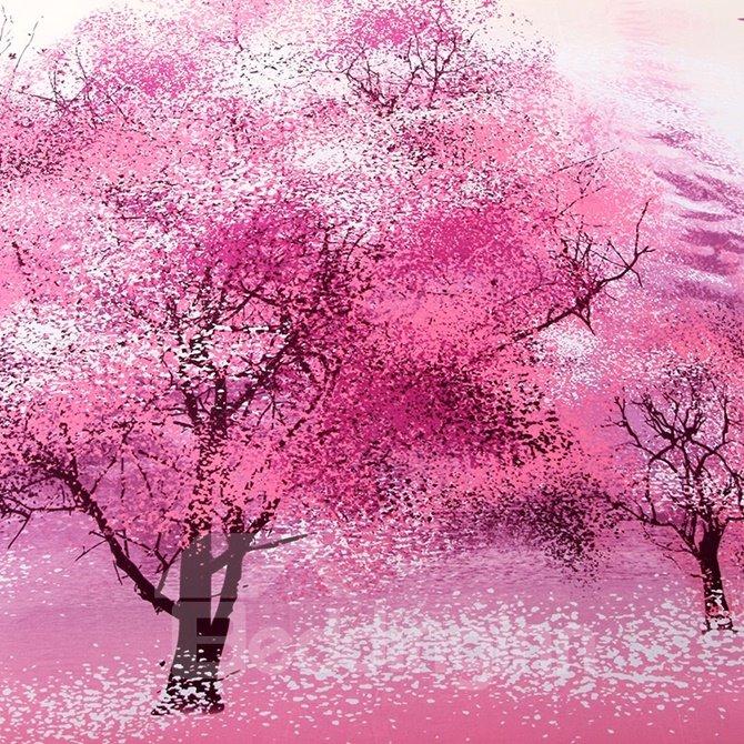 Vivid Tree Pink 4-Piece Cotton Duvet Cover Sets