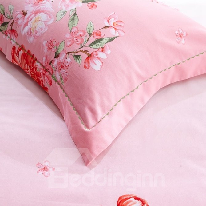 Stylish Pink Blooms Print Green 4-Piece Cotton Duvet Cover Sets
