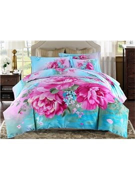 Magnificent Vivid Peony Printing 4-Piece Duvet Cover Sets