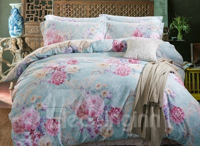 Fancy Multicolor Peony Print 4-Piece Duvet Cover Sets