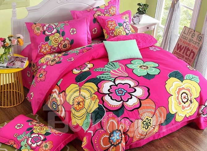 Gorgeous Colorful Floral Print 4-Piece Cotton Duvet Cover Sets