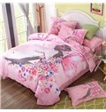 Dreamy Butterfly Girl Print Pink 4-Piece Cotton Duvet Cover Sets
