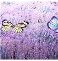 Noble Lavender and Butterfly Print 4-Piece Cotton Duvet Cover Sets