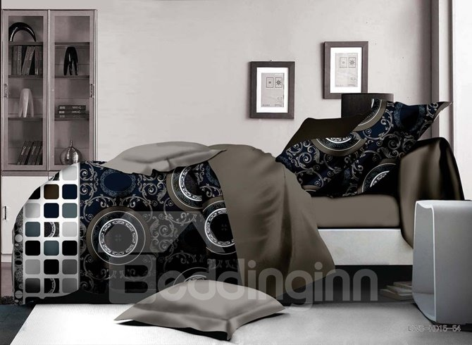 Neutral Aboriginal Pattern Print 4-Piece Polyester Duvet Cover Sets