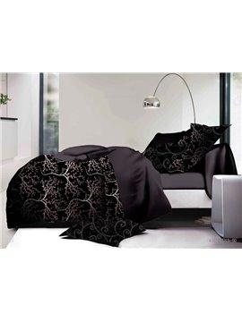 Intelligent Design Luxuriant Branch Print 4-Piece Polyester Duvet Cover Sets