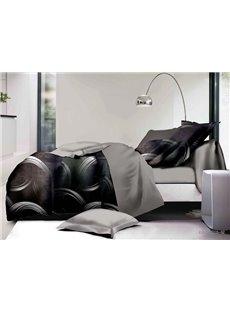 Simple Design Black 4-Piece Polyester Duvet Cover Sets