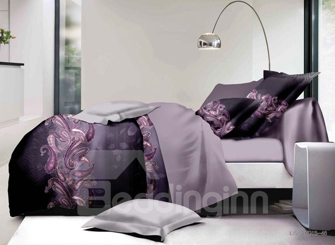 Comfy Purple Paisley Print Polyester 4-Piece Duvet Cover Sets