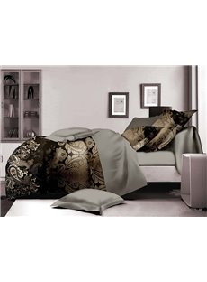 Paisley and Damask Print Polyester 4-Piece Duvet Cover Sets