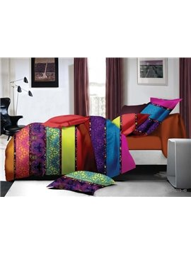 Chic Colorful Stripes Print Polyester 4-Piece Duvet Cover Sets
