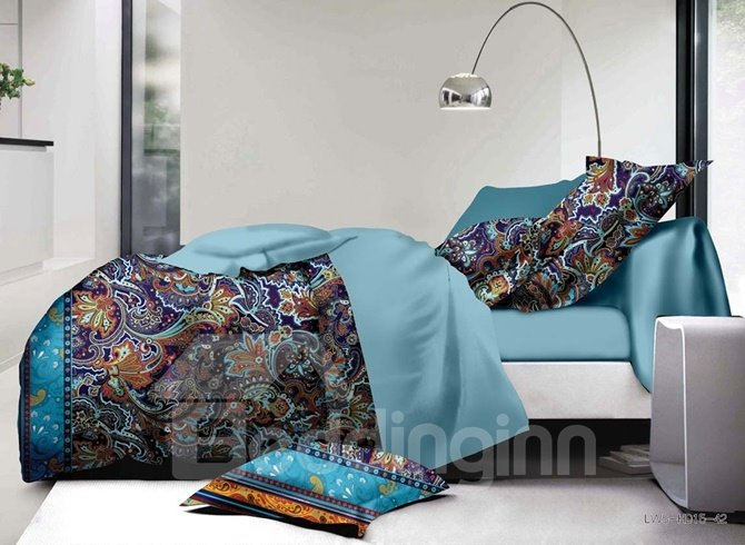 Esthetical Jacobean Pattern Print 4-Piece Polyester Duvet Cover Sets