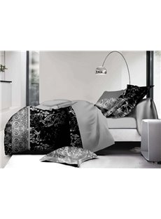 Popular Jacobean Pattern Print Polyester 4-Piece Duvet Cover Sets