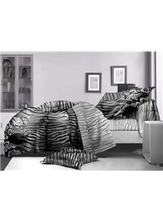Personalized Tiger Stripes Print Polyester 4-Piece Duvet Cover Sets