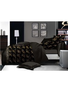 Gorgeous Chic Design Black Polyester 4-Piece Duvet Cover Sets
