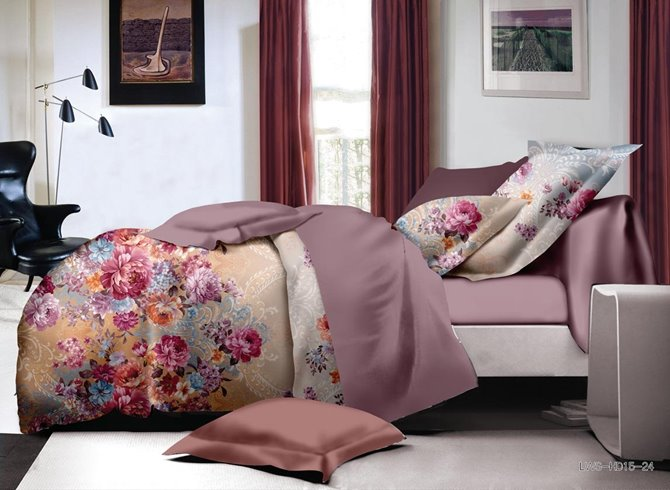 Stylish Colorful Peony Print Polyester 4-Piece Duvet Cover Sets