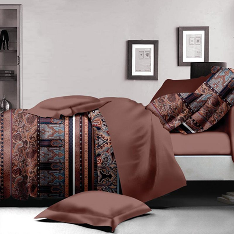 Neutral Style Ikat Print Polyester 4-Piece Duvet Cover Sets