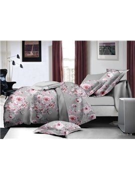 Magnificent Pink Peony Print Polyester 4-Piece Duvet Cover Sets
