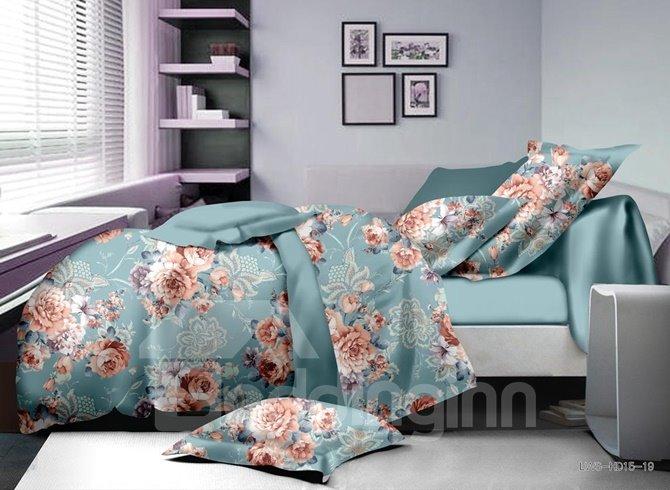 Elegant Peony Print Polyester 4-Piece Duvet Cover Sets