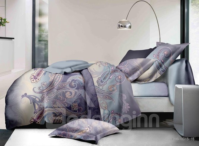Noble Paisley Print Polyester 4-Piece Duvet Cover Sets