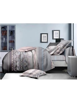 Understated Pattern Print Polyester 4-Piece Duvet Cover Sets