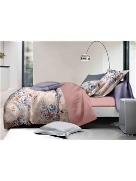 Fancy Floral Print Polyester 4-Piece Duvet Cover Sets