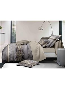 Stylish Damask Print Polyester 4-Piece Duvet Cover Sets