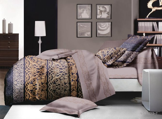 Gorgeous Scroll Print Polyester 4-Piece Duvet Cover Sets