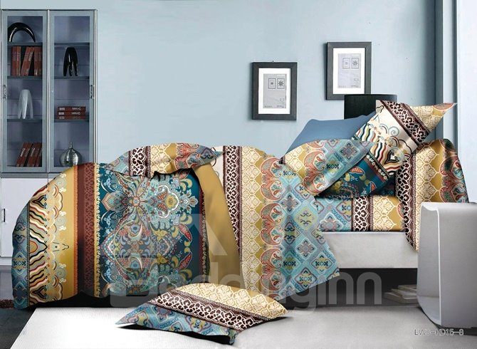 Bright Ethnic Style Polyester 4-Piece Duvet Cover Sets