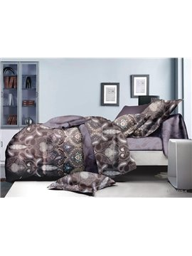 Luxury Paisley Print Polyester 4-Piece Duvet Cover Sets