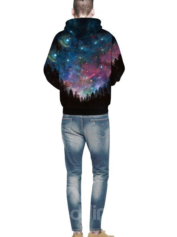 Long Sleeve Dark Blue Galaxy Pattern Pocket 3D Painted Hoodie