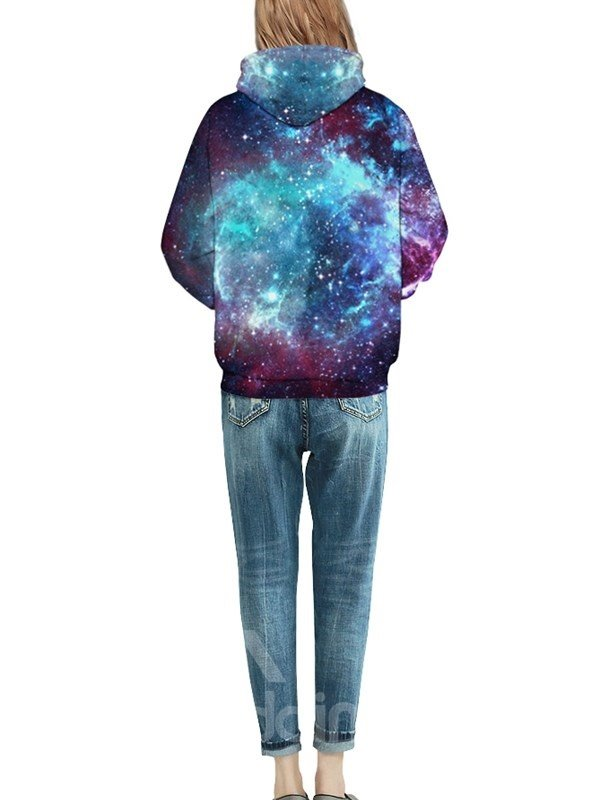 Popular Long Sleeve Shining Galaxy Pattern Pocket 3D Painted Hoodie