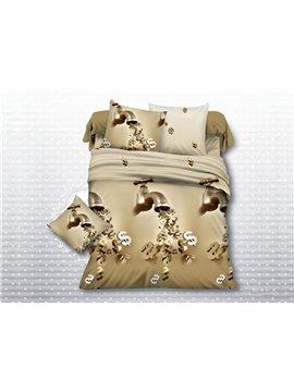 Creative Faucet Print Polyester 4-Piece Duvet Cover Sets
