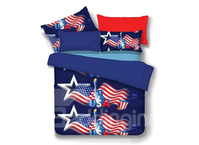 Chic Statue of Liberty Print 4-Piece Polyester Duvet Cover Sets