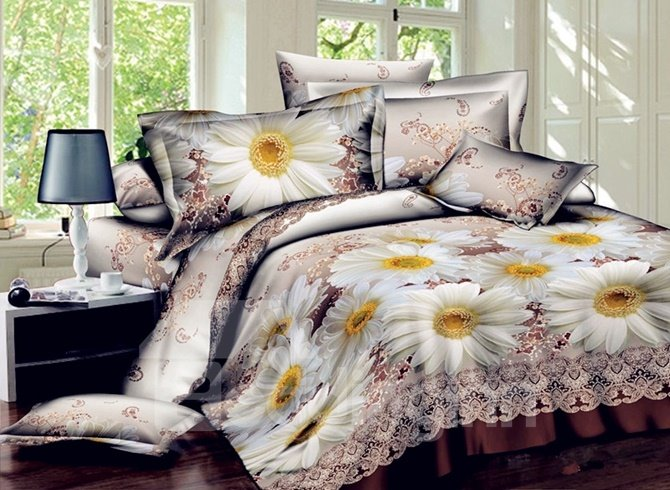 Noble 3D Daisy Print 4-Piece Polyester Duvet Cover Sets
