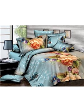 Gorgeous Peony and Grape Print 4-Piece Polyester Duvet Cover Sets