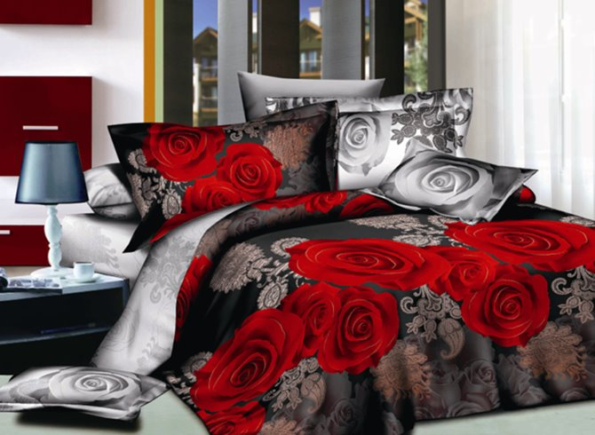 Sweet 3D Red Rose Print 4-Piece Polyester Duvet Cover Sets 12446380