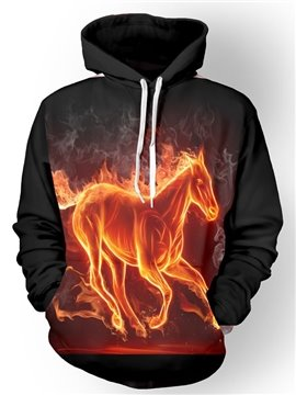 Cool Long Sleeve Fire Horse Pattern Pocket 3D Painted Hoodie