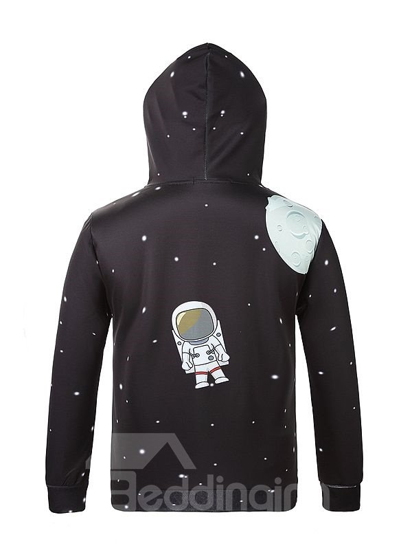 Long Sleeve Cartoon Spaceman Pattern Pocket 3D Painted Hoodie