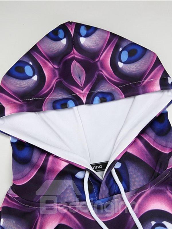 Long Sleeve Eyes Pattern Pocket 3D Painted Hoodie