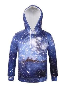 Long Sleeve Galaxy Style Pocket 3D Painted Hoodie
