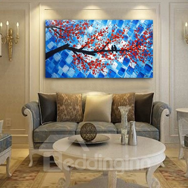 Handmade Rectangle Birds on Plum Blossom Branch Pattern Canvas Wall Art Print