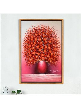 Red Special Flower and Vase Pattern Handmade Canvas Oil Painting