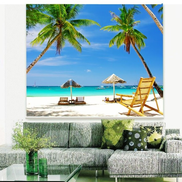 Happy Beach Vacation Printing 3D Roller Shades